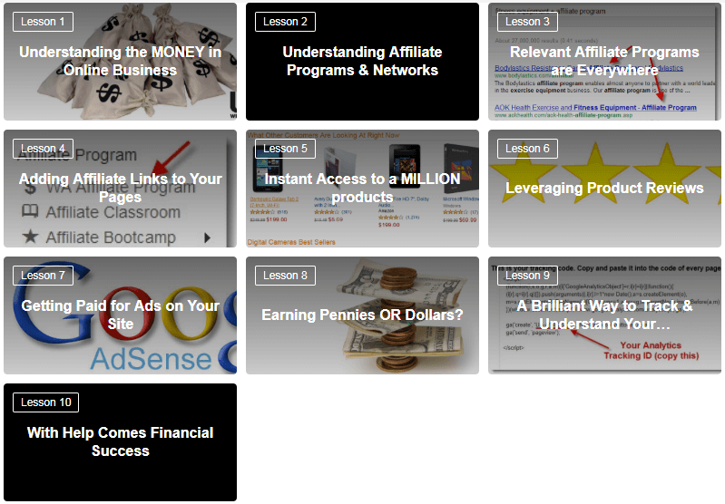 A screenshot of the first ten lessons that are included in Wealthy Affiliate.