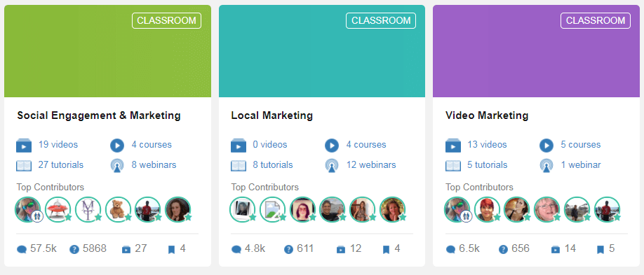 A screenshot from Wealthy Affiliate showing three classrooms; Social Engagement, Local Marketing, and video marketing.
