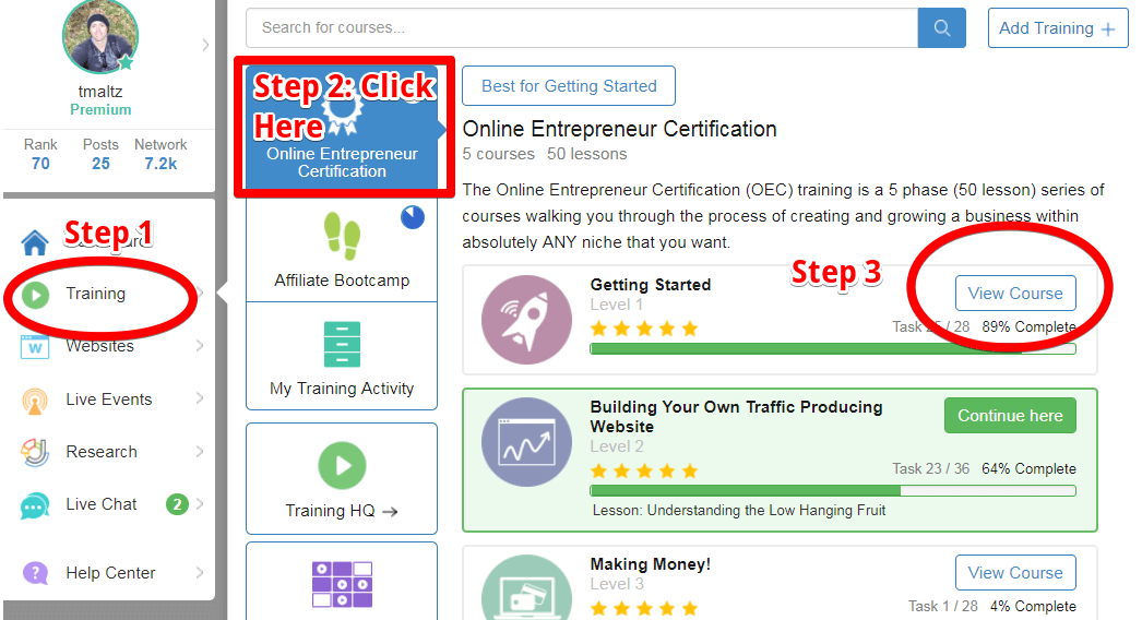 An instructional picture showing you the steps to start your online entrepreneur certificate.