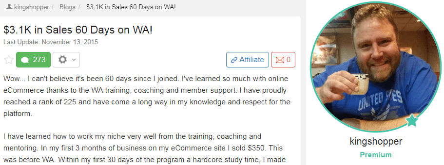 An image showing a Wealthy Affiliate success story from a Premium member.
