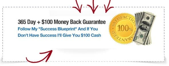 A screenshot from Social Commissions that says there is a 365 money-back gaurantee plus an additional $100.