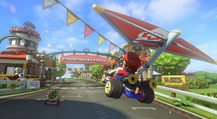 A photo from the popular video game mario kart.