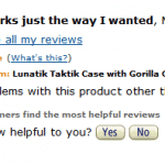 A screenshot of an Amazon review for a counterfeit phone case.