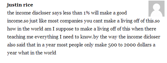 A comment from a customer saying My Top Tier Business' income disclaimer says less than 1% of people will make money.