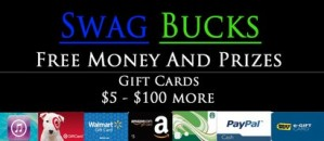 The logo of Swagbucks that says you can earn free money and prizes.