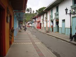 A picture of the streets with white buildings in Salento, Colombia.