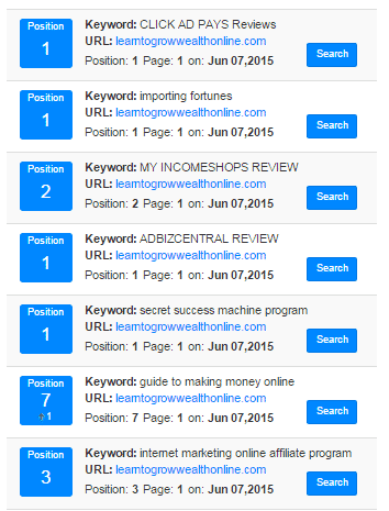 Jaxxy Review photo of keyword rankings in Google