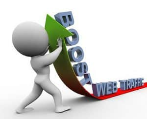 """A graphic of a stock figure carrying the words """"Boost"""" and """"Web Traffic"""""""