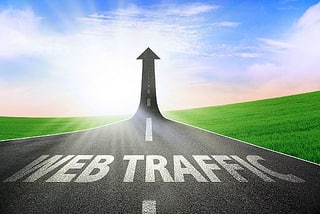 A graphic of a road showing an increase in web traffic
