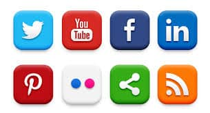 A picture of the most popular social media website logos