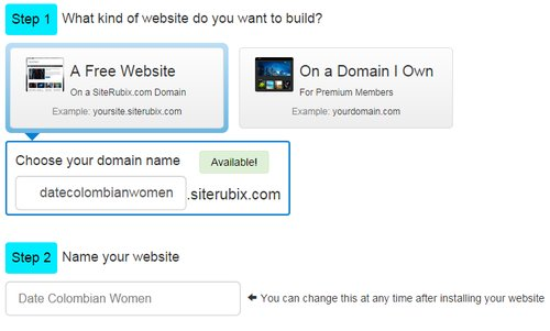 An image showing two steps to building a free website