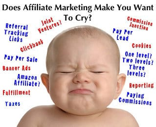 "An image showing a baby with the text, ""Does affiliate marketing make you want to cry?"""