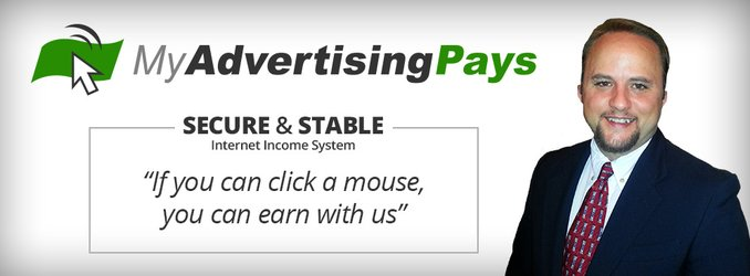 "A screenshot of My Advertising Pays showing a man smiling and the headline, ""If you can click a mouse you can earn with us!""."