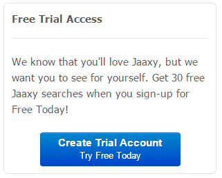 Image that shows information about Jaaxy's free trial access where you can use 30 free searches to check your website ranking