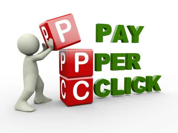 A graphic that shows the words Pay Per Click.