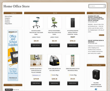 A picture showing an example of a niche website made with Income Shops.