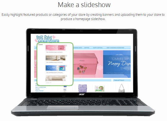 A screenshot from Income Shops showing how to make a homepage slideshow for your website.