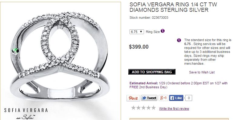 A screenshot of a Sofia Vergara Ring for sale online.
