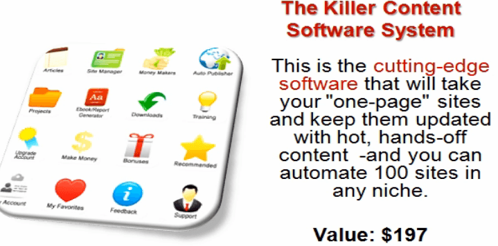 An image of Killer Content System showing a one-page website builder valued at $197.