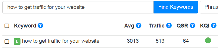 "A screenshot from Jaaxy showing keyword data for the keyword, ""How to get traffic for your website""."