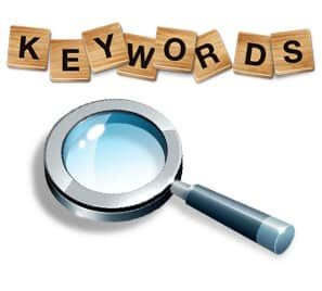 "A graphic showing a magnifying glass and the word, ""Keywords""."