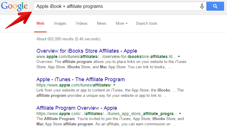 An image of a Google search for Apple affiliate programs.