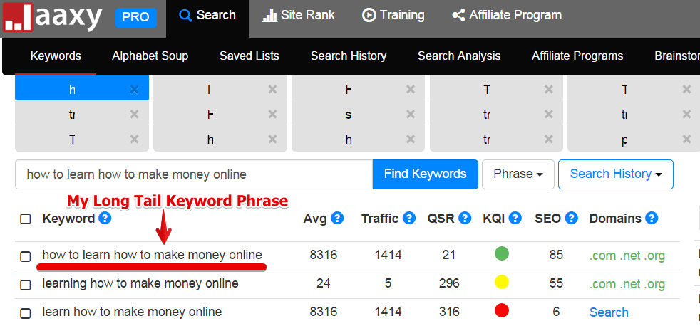 "Jaaxy search data for the keyword, ""How to learn to how to make money online"""