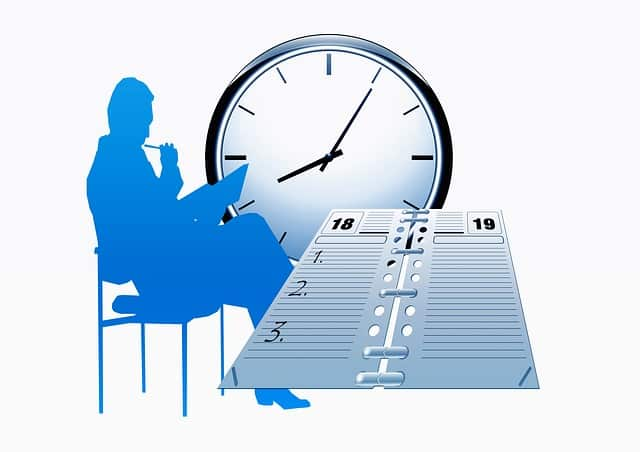 A graphic of a man planning a schedule.