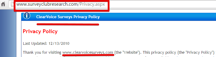 An image from Survey Club showing their privacy policy refers to them by a different name, Clear Voice Surveys.