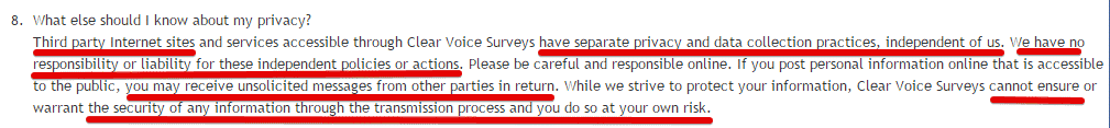 A disclaimer from Survey Club saying they are not responsible for third-party marketing.