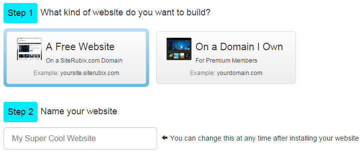 A picture showing Site Rubix website builder's two steps to connecting a domain and building a website.