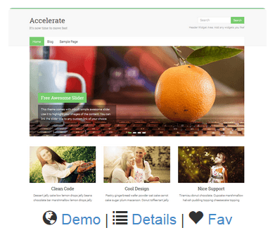 A picture of a demo website from Site Rubix called Accelerate.