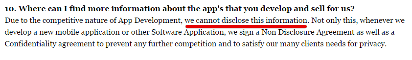 A disclosure from Automatic Mobile Cash that says they can't reveal their apps or any information.