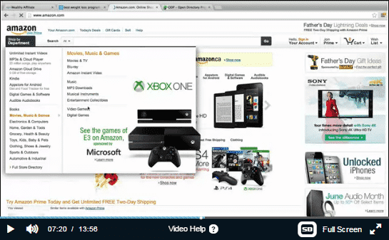 A screenshot of Amazon's homepage showing many different industries you can target.