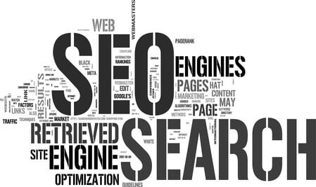 A word cloud showing SEO and Search as the most popular terms.