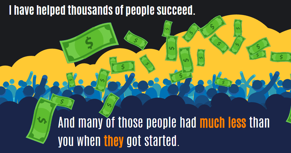 """An image from Bring the Fresh showing a crowd with dollar bills and the text that says, """"I have helped thousands of people succeed""""."""