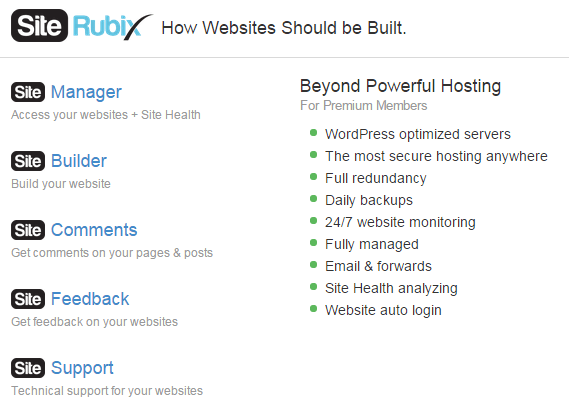 A screenshot from the features included in the free website builder Site Rubix.