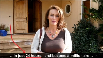 """A screenshot from the sales video of Quick Cash System showing a woman standing in front of a house with the text, """"In just 24 hours become a millionaire!""""."""