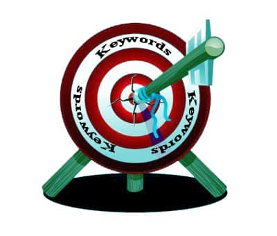 Graphic of a bulls eye target with the word Keywords written three times around the target.