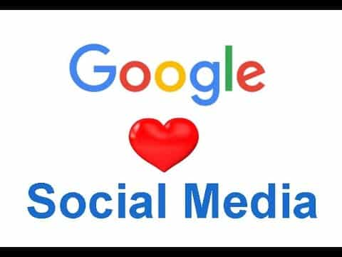 "A graphic with Google's logo and a heart icon then the words ""Social Media"""