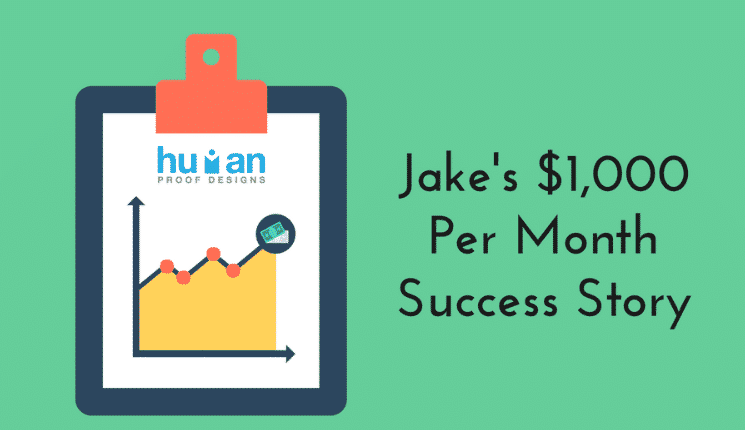 An image that links to Jake's success story using ready-made affiliate websites.
