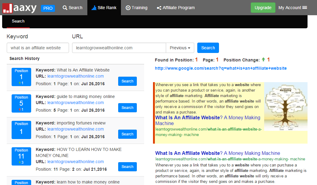 Jaaxy tool showing keyword positions in Google