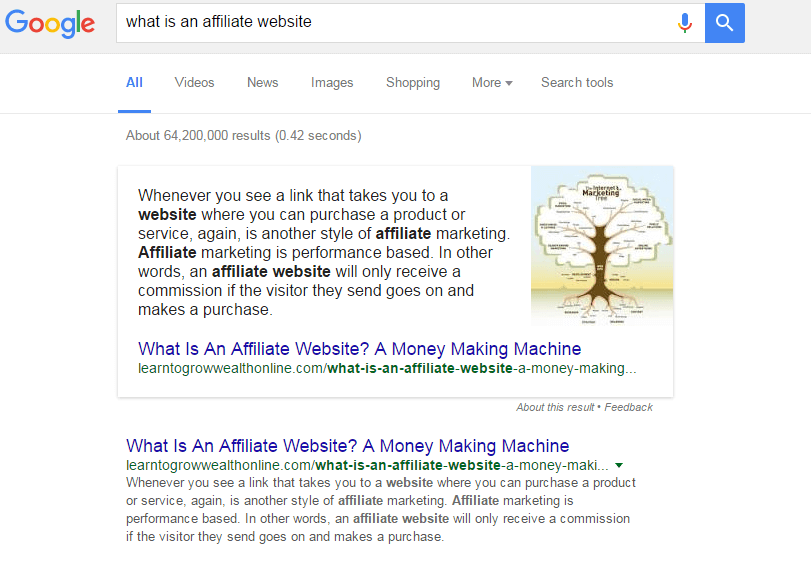 Google search results for what is an affiliate website