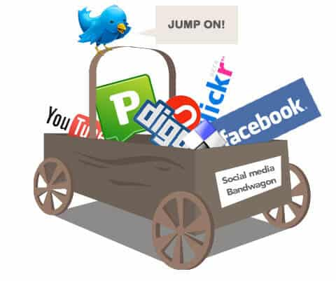 A graphic showing a cart full of popular social media logos