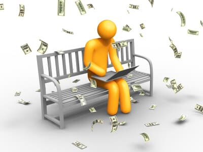 Graphic of a person on a laptop with money floating around him representing making easy money online.