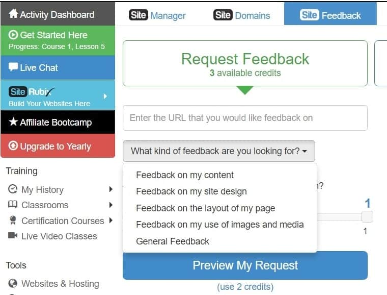 A picture of Wealthy Affiliate's Request a Feedback feature.