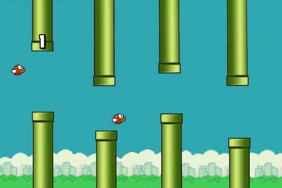A screenshot of Flappy Bird, a popular mobile phone game