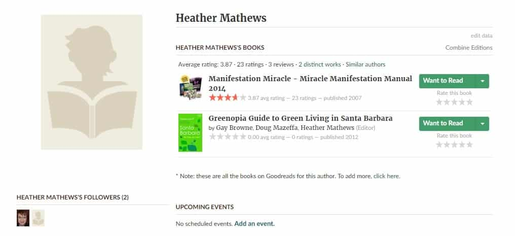 A picture of the author page of Manifestation Miracle with no picture or reviews.