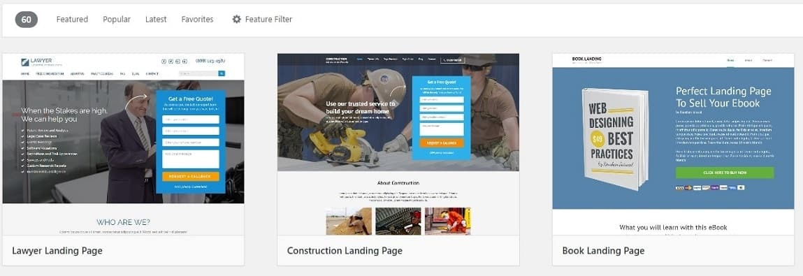 A picture showing three squeeze page templates from Thrive Architect.