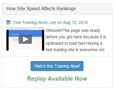 A screenshot of a webinar inside Wealthy Affiliate that shows how to test the speed of a website.